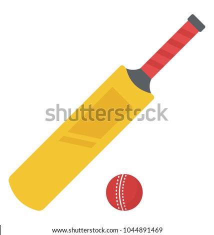 Cricket bat and red cricket ball