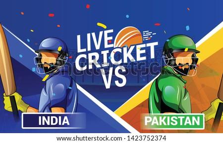 Cricket championship batsman and bowler playing cricket illustration