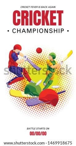 Cricket championship concept banner. Cartoon illustration of cricket championship vector concept banner for web design