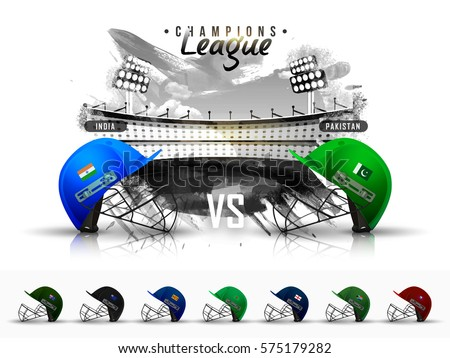 Cricket championship concept with showing match schedule of India v/s Pakistan, cricket attire helmet.