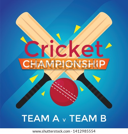 Cricket Championship Game Bat Ball Vector