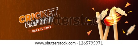 Cricket Championship header or banner design with illustration of realistic fiery ball hitting wicket stumps on glossy brown background.