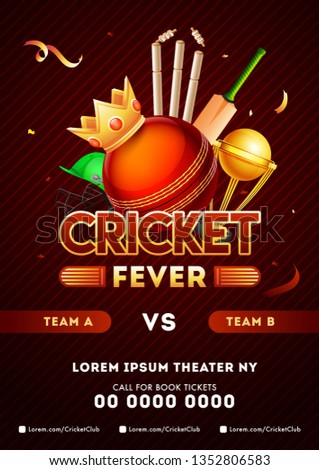 Cricket championship league template with close view of glossy ball wearing king crown, winning trophy, bat, stumps on shiny brown background.