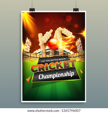 Cricket Championship template or flyer design with illustration of cricket equipments on night stadium background.