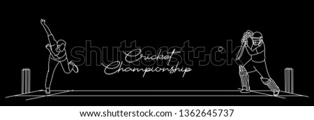 Cricket championship with ball wicket in Cricket stadium flat line art graphic design, vector illustration