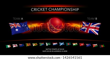 Cricket game vector background, illustration. Banner with ball with lightning and flags of the cricket teams