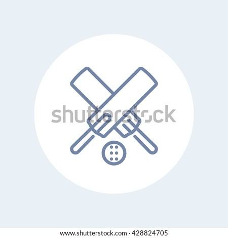 Cricket line icon, crossed cricket bats and ball linear pictogram isolated on white, vector illustration