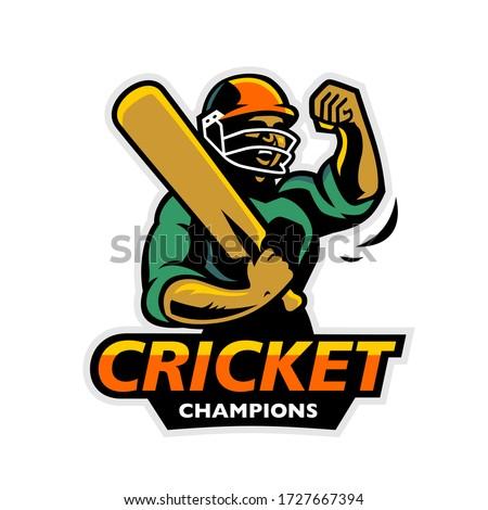 Cricket Logo Symbol Cricket Champions Player Illustration Badge