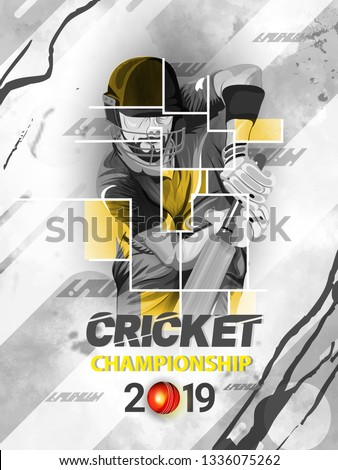 Cricket match between India vs Australia with illustration of batsman playing action,  Cricket tournament header or banner, poster design.