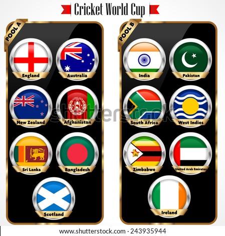 Cricket 2015 match schedule cricket world cup team vector eps10