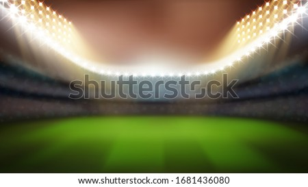 Cricket Or Rugby Stadium With Bright Lights Vector. Blurred Empty Stadium With Green Grass, Tribunes For Game Watching And Lighting Bright Lamps. Sport Field Mockup Realistic 3d Illustration