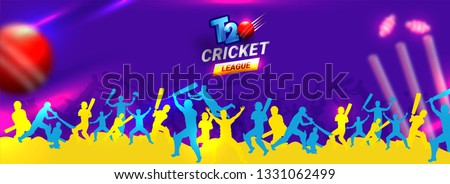 Cricket player in different playing pose with cricket equipment illustration on purple background for T20 Cricket League header or banner design.
