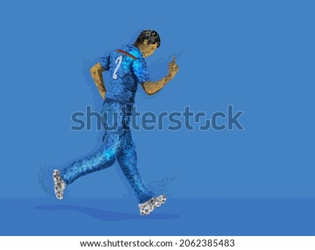 Cricket Player or Bowler in Team Jersey Celebrating with Copy Space for Your Message. Pixel Art Detailed Character Illustration.