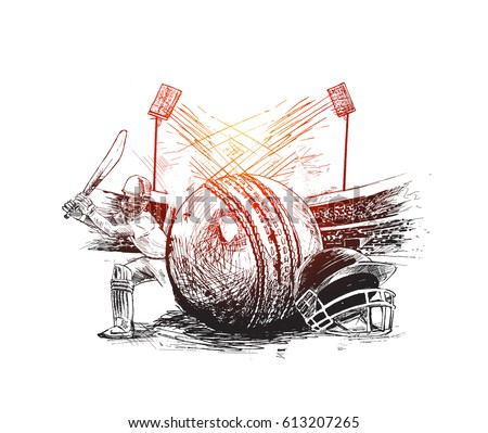 Cricket player with ball helmet  in Cricket stadium freehand sketch graphic design, vector illustration