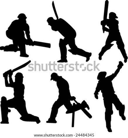 cricket players collection-vector