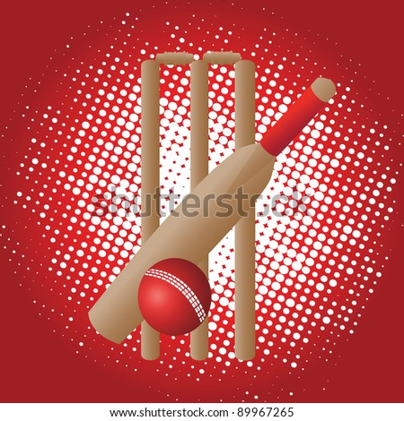 cricket set on red background with white dots