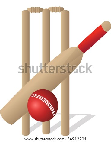cricket bat and ball and stumps. cricket set with at ball
