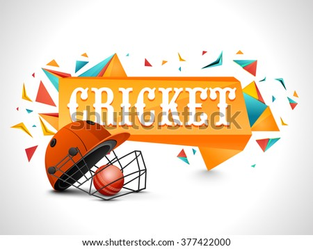 Cricket Sports concept with illustration of batsman helmet and glossy ball on abstract grey background.