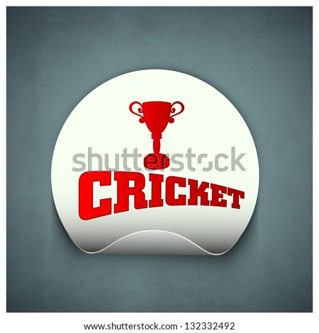 Cricket sports sticker or label with trophy and text cricket on grey background.