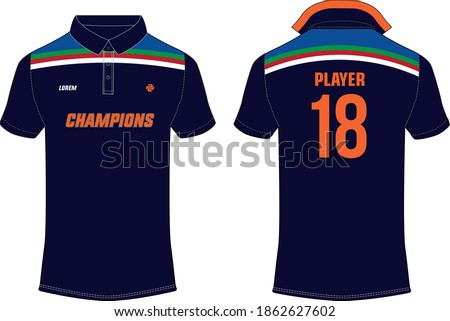 Cricket Sports t-shirt jersey design concept vector, sports jersey concept with front and back view. New India Cricket Jersey 2020 design concept for soccer, Badminton, Football and volleyball Stock photo ©