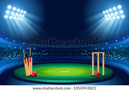 Cricket stadium background. Hitting recreation equipment. Vector wallpaper design.