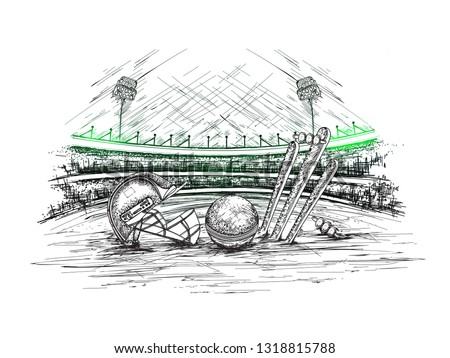 Cricket stadium view with illustration of cricket helmet, ball and stumps in hand drawn style for Cricket tournament poster or banner design.