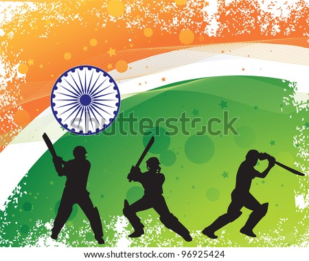 cricketer silhouette on grunge textured Indian flag background