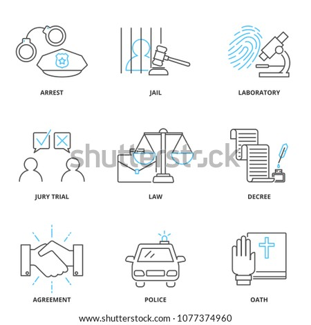 Crime and law vector icons set, outline style. Editable stroke