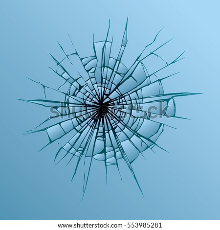 Crime busted circle break blue crystal pane graphic backdrop. Closeup view
