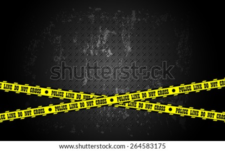 crime scene and police line on steel grunge texture background