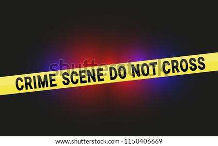 Crime Scene Do Not Cross Tape with Police Flashing Lights