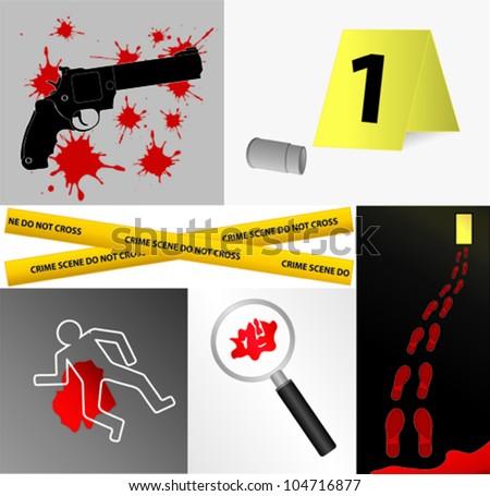 Crime scene icons vector