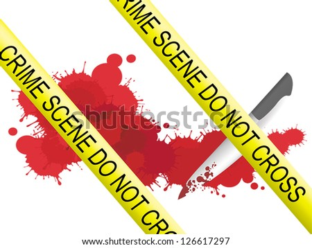 Crime scene of a knife muderer with blood splatter on the floor
