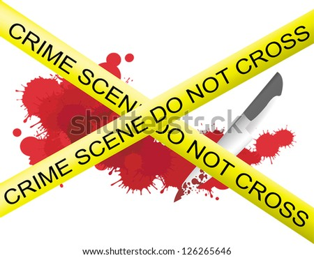 Crime scene of a knife murderer with blood splatter on the floor