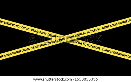Crime scene - police yellow tape is forbidding to enter into place and location of crime. Vector illustration