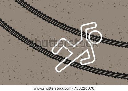 crime scene   victim and tracks