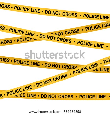 Crime scene yellow tape, police line Do Not Cross tape. Cartoon flat-style. Vector illustration. White background.