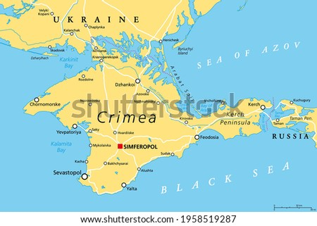 Crimea political map. Peninsula in Eastern Europe on the northern coast of the Black Sea, with disputed status. Controlled and governed by Russia, internationally recognized as part of Ukraine. Vector Stock foto ©
