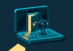 Criminal, burglar or cracker wearing black hat, mask and clothing stealing personal information from computer. Concept of hacker internet activity or security hacking. Vector modern illustration