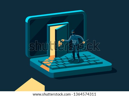 Criminal, burglar or cracker wearing black hat, mask and clothing stealing personal information from computer. Concept of hacker internet activity or security hacking. Vector modern illustration Сток-фото ©