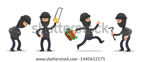 Criminal characters set in different poses. Robber in dark clothes. Thief, dangerous man in black mask. Vector illustration, flat design, cartoon style. Isolated on white background.