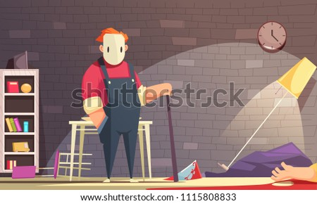 Criminal horizontal illustration with indoor room interior and human character of killer in mask and dead man vector illustration
