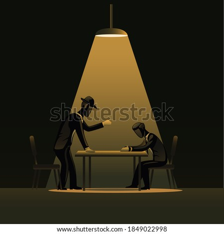 Criminal man introgration in dark room with spotlight. detective police with suspected concept illustration vector Stock photo ©