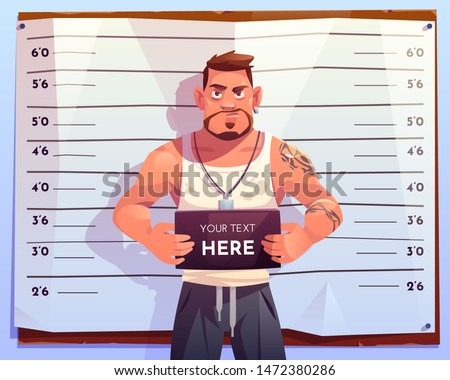 Criminal mugshot front view on measuring scale background in police station. Arrested man gangster holding board with copy space in hands posing for identification photo. Cartoon vector illustration