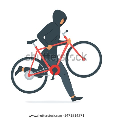 Criminal stealing bicycle vector illustration. Caucasian man in black hoodie cartoon character. Bike theft, law break, crime design element. Thief carrying vehicle isolated on white background Foto stock ©