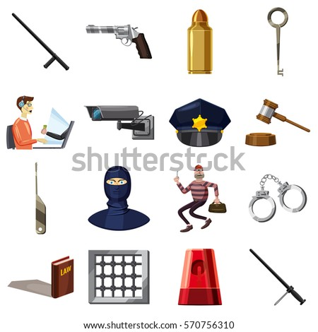 criminal symbols icons set