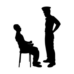 Criminal was investigated by policeman silhouette vector