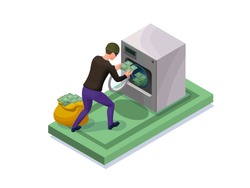 Criminal washing banknotes in machine, money laundering icon with bandit, financial fraud concept, isometric 3d vector illustration