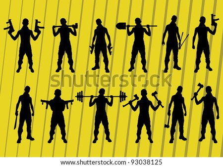 Criminals and outlaws silhouettes illustration collection background vector