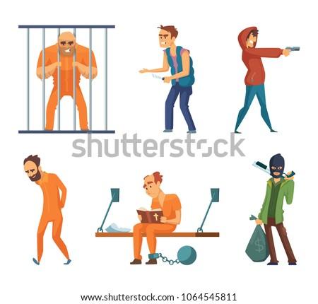 Criminals and prisoners. Set of characters in cartoon style. Vector criminal man, character prisoner in uniform illustration